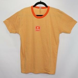 Apple Company Camp Spell Out Ringer Shirt Orange